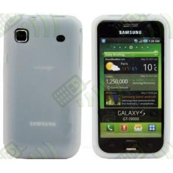 Funda Silicona Samsung Galaxy S i9000 / S Plus i9001 Blanca semitransparente