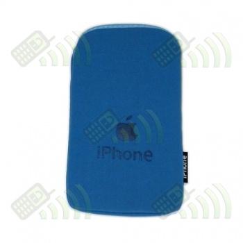 Funda Neopreno Azul Logo Apple 12,5x7cm