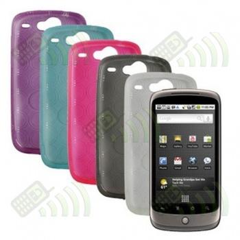 Funda Gel HTC Nexus One Rosa Fucsia Círculos