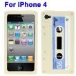 Funda Silicona Iphone 4 Cassette Blanca