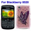 Carcasa trasera Blackberry 8520 Morada Diamantes incrustados