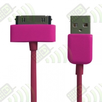 Cable USB Iphone / Ipod / Ipad Rosa 30 cm