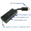 Adaptador Auriculares 2 en 1 Conector HTC USB 11 pines