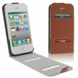 Funda Solapa iPhone 4G / 4S Marron Con Apertura