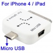 Cargador mini a micro USB y mini USB a iphone Blanco