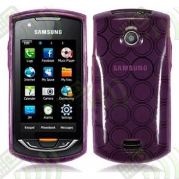 Funda Gel Samsung Onix S5620 Morada Círculos