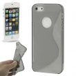 Funda Silicona Gel iPhone 5 Gris Semitransparente S-Type