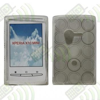 Funda Silicona Gel SE Xperia X10 Mini Transparente Círculos