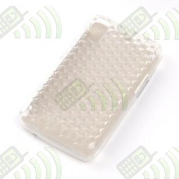 Funda Silicona Gel Samsung F480 Transparente Hexágonos