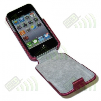 Funda Solapa iPhone 4 Rosa Fucsia