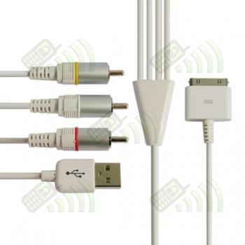 Cable AV con conector USB Iphone/ Ipod/ Ipad