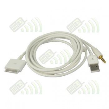 Cable dual carga y audio Iphone / Ipod / Ipad 1.2 m