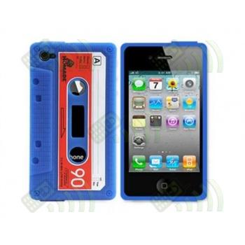 Funda Silicona Iphone 4 / 4S Cassette Azul