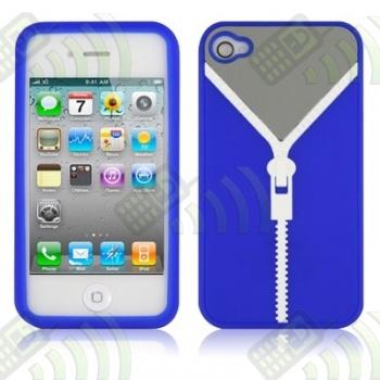 Funda Silicona Iphone 4 Jersey Cremallera Azul