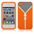 Funda Silicona Iphone 4 Jersey cremallera Naranja