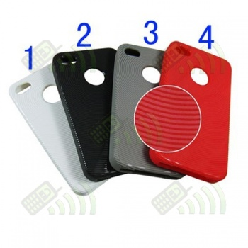 Funda Gel Iphone 4 Roja Círculos